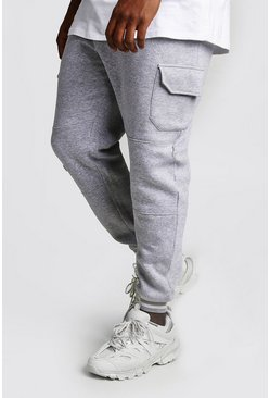 Grey marl Big And Tall Skinny Fit Cargo Joggers