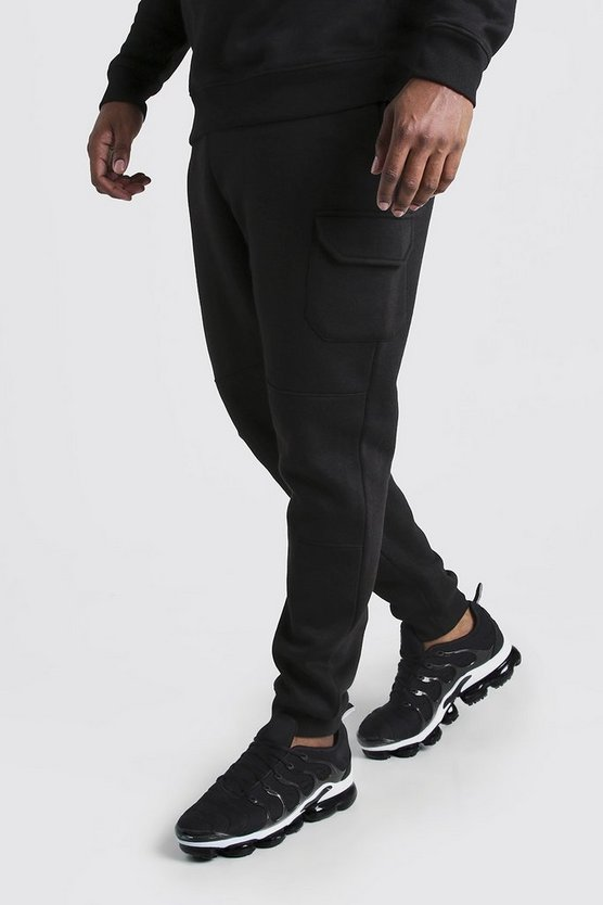 Mens Black Big And Tall Skinny Fit Multi Cargo Jogger