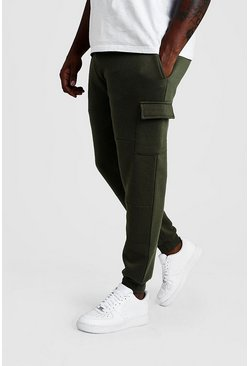 Khaki Big And Tall Skinny Fit Basic Cargo Joggers