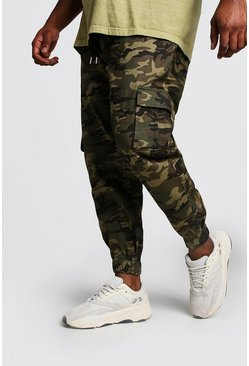 Big And Tall Skinny Fit Cargo-Jogginghose aus Webstoff mit Camouflage-Muster