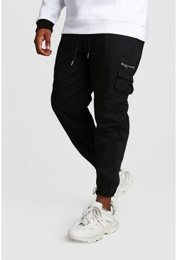 Mens Black Big And Tall Skinny Fit Woven Cargo Joggers