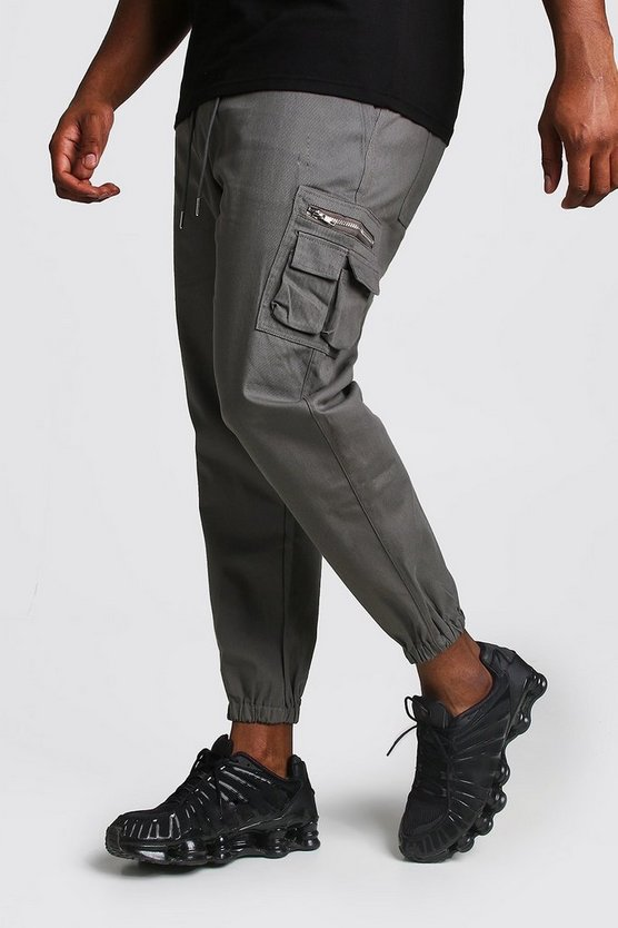 Slate Big And Tall Skinny Fit Woven Cargo Joggers