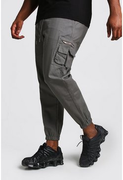 Mens Slate Big And Tall Skinny Fit Woven Cargo Joggers