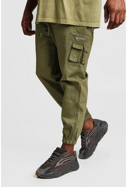 Big And Tall Skinny Fit Cargo-Jogginghose aus Webstoff, Khaki, Herren