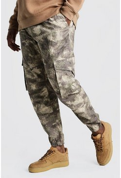 Taupe Big & Tall Skinny Fit Camo Woven Cargo Jogger