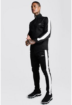 Mens Black Half-zip Funnel Neck Contrast Panel MAN Tracksuit