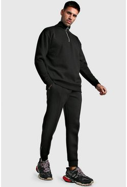 Black Scuba Half Zip Smart Tracksuit
