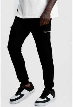 Black Pique Skinny Fit Joggers