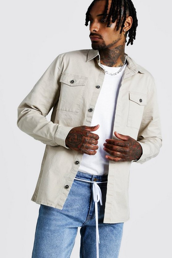 Sand Washed Twill Utility Overshirt