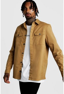 Mens Camel Washed Twill Utility Overshirt