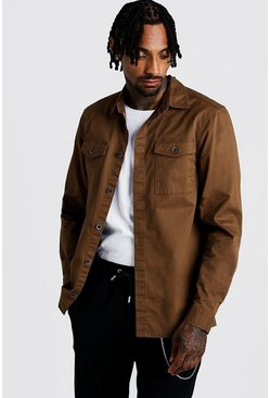 Brown Washed Twill Utility Overshirt