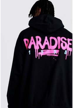 Black Oversized Paradise Back & Front Print Hoodie