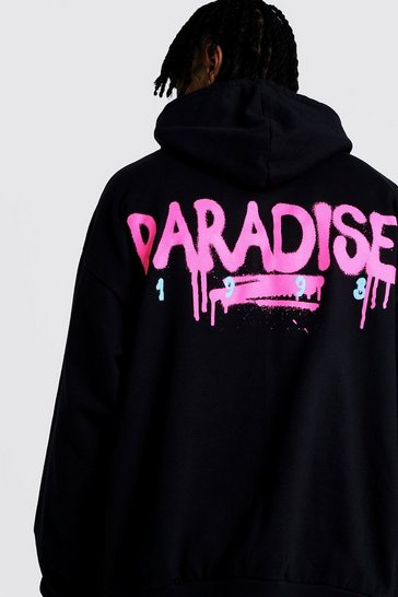 Mens Black Oversized Paradise Back & Front Print Hoodie