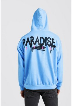 Blue Oversized Paradse Back Print Hoodie