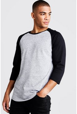 Mens Charcoal 3/4 Sleeve Contrast Raglan T-Shirt