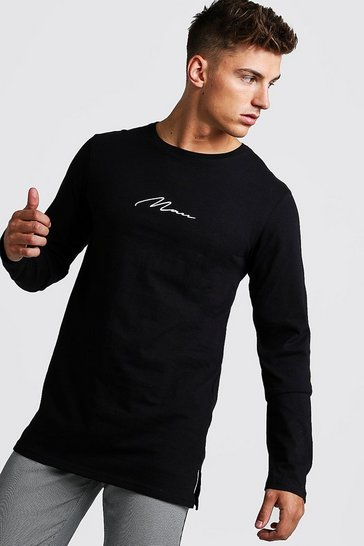 Mens Black MAN Signature Long Sleeve Longline Drop Tail T-Shirt