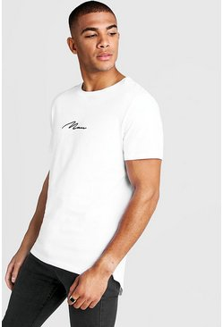 Mens White MAN Signature Longline Drop Tail T-Shirt