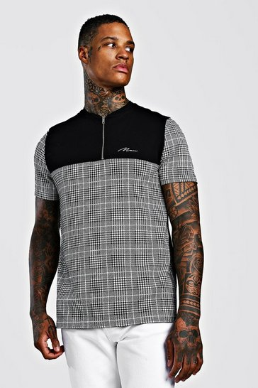 Mens Grey MAN Signature Collarless Check Polo