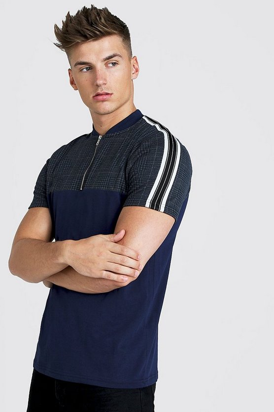 Mens Navy Check Taped Zip Polo Shirt