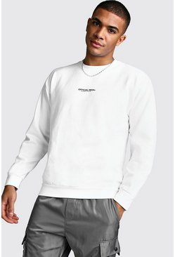Mens White Official MAN Print Sweatshirt