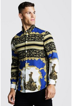 Herr Cobalt Cheetah Baroque Long Sleeve Shirt