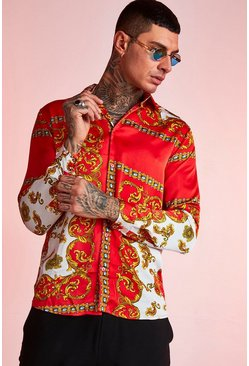 Herr Red Large Baroque Print Long Sleeve Shirt