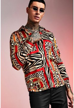 Animal Tile Print Long Sleeve Shirt