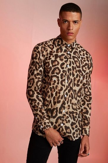 Mens Animal Print Relaxed Fit Long Sleeve Shirt