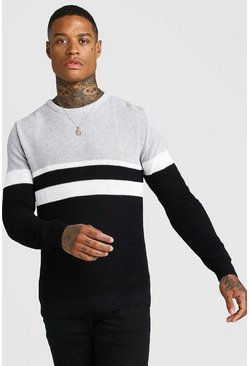 Mens Black Muscle Fit Ribbed Colour Block Jumper
