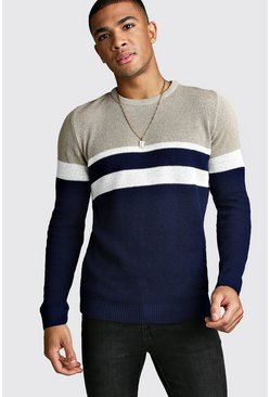 Mens Navy Muscle Fit Ribbed Colour Block Jumper
