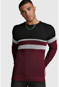 Mens Wine Muscle Fit Ribbed Colour Block Jumper