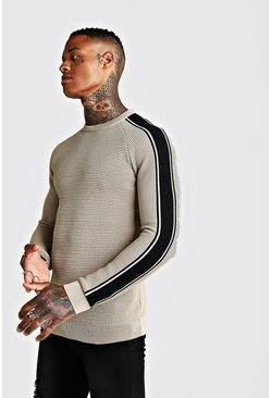 Mens Camel Long Sleeve Muscle Fit Knitted Side Stripe Jumper