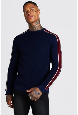 Mens Navy Long Sleeve Muscle Fit Knitted Side Stripe Jumper