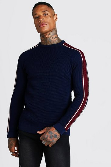 Navy Long Sleeve Muscle Fit Knitted Side Stripe Jumper