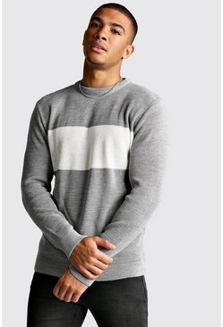 Mens Light grey Long Sleeve Colour Block Knitted Jumper