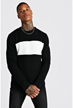 Mens Black Long Sleeve Colour Block Knitted Jumper