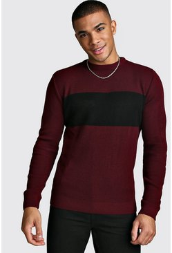 Mens Burgundy Long Sleeve Colour Block Knitted Jumper