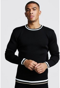 Mens Black Muscle Fit Long Sleeve Knitted Jumper With Tipping