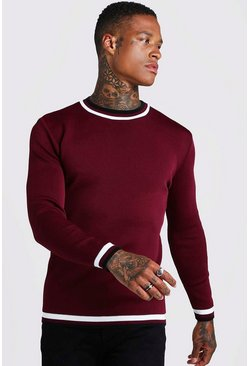 Burgundy Muscle Fit Long Sleeve Knitted Jumper With Tipping