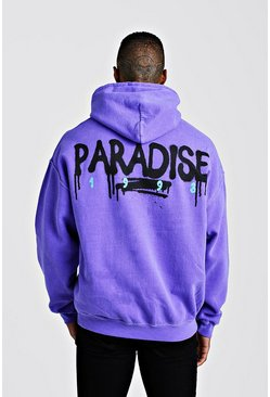 Herr Purple Oversized Paradise Back Print Hoodie
