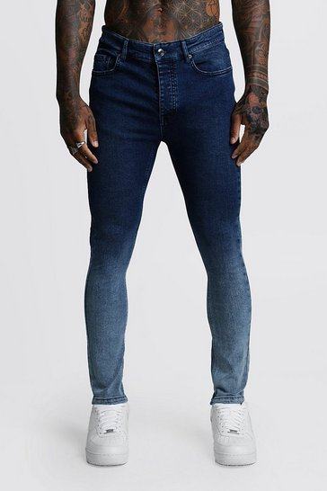 Mens Blue Stretch Skinny Ombre Jeans