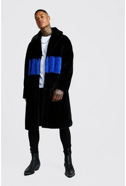 Cobalt Luxe Faux Fur Overcoat with Stripe