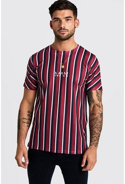Mens Red Original MAN Vertical Stripe T-Shirt