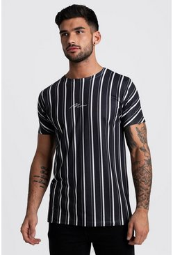 Herr Black MAN Signature Vertical Stripe T-Shirt
