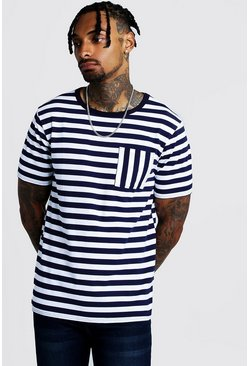 Herr Navy Striped Pocket T-Shirt