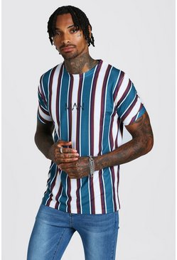 Mens Blue Original MAN Vertical Stripe T-Shirt