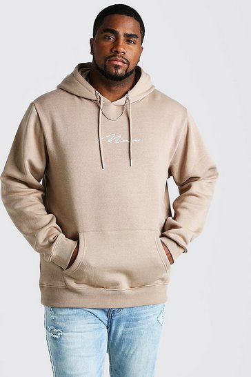 Mens Taupe Big and Tall MAN Script Hoodie