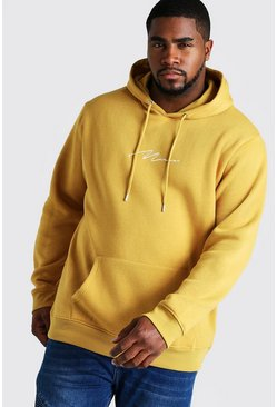 Mens Mustard Big and Tall MAN Script Hoodie