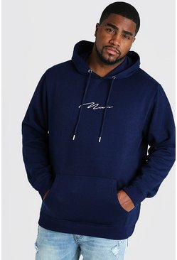 Mens Navy Big and Tall MAN Script Hoodie
