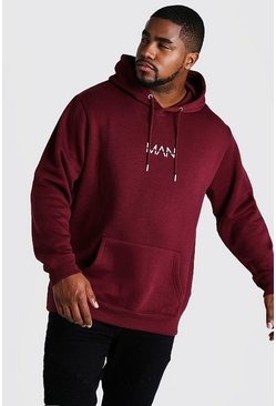 Big And Tall Hoodie mit MAN-Print, Weinrot, Herren
